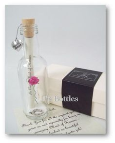 Thank You gift for Bridesmaid/ Maid of Honour PERSONALISED Message In a Bottle
