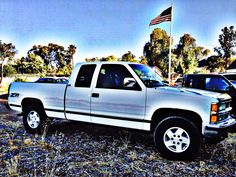 My dad gave my son his old 94 Chevy Z71...looks just like this but in Indigo Blue!  Happy for my boy!