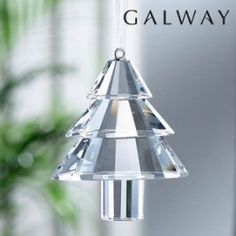 Galway Crystal Traditional Christmas Tree Hanging Ornament, Set of 6