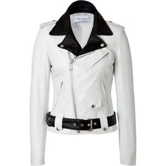 EACH OTHER White/Black Leather Biker Jacket (715 AUD) ❤ liked on Polyvore featuring outerwear, jackets, leather jackets, coats, coats & jackets, slim fit motorcycle jacket, genuine leather jackets, moto jacket and zip front jacket