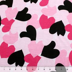 Falling Hearts on Pink Cotton Jersey Blend Knit Fabric