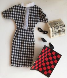 Palitoy Vintage Tressy Doll Outfit 1960s Checkmates Dress Board Glasses ETC | eBay