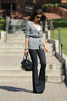 preppy work outfit...although i would hem the pants about an inch or so. these look SUPER long.