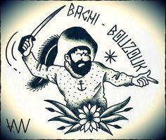 AWA Production Black Trad Tattoo Flash Capitaine Haddock.