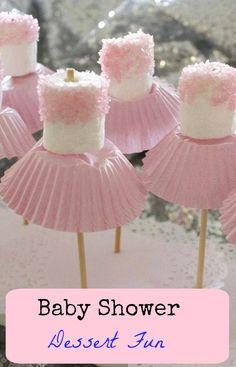 "6 Fun Baby Shower Food Ideas - ""Marshmallow Ballerina Pops"" #babyshower #marshmallowpops #partyfood #appetizer"