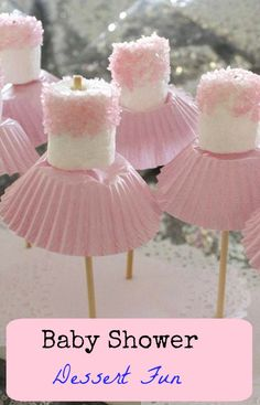 "6 Fun Baby Shower Food Ideas - ""Marshmallow Ballerina Pops"" #babyshower #marshmallowpops #partyfood #appetizer"