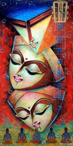 New modern art portrait inspiration ideas - Kerala Mural Painting, Indian Art Paintings, Modern Art Paintings, Ganesha Painting, Buddha Painting, Madhubani Painting, Composition Painting, Cubism Art, Indian Folk Art