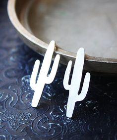 Cactus earrings sterling silver cactus studs by ElisabethSpace Cactus Earrings, Stud Earrings, Southwestern Jewelry, Earring Backs, Sterling Silver Earrings, Studs, Jewelry Design, Bling, Brass