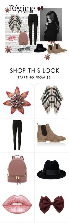 """""""Untitled#17"""" by dzenanapodanovic ❤ liked on Polyvore featuring Anja, Burberry, J Brand, Barneys New York, Gucci, Lime Crime and Ray-Ban"""