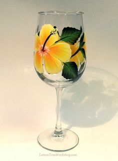 Hand Painted Yellow Hibiscus Wine Glass 18.5 by LemonTreeWorkshop