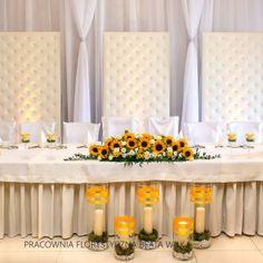 ślub dekoracja wesele słoneczniki parawan pikowany
