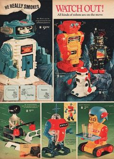 Some of the mid century, and graphic design and pop art looks so amazing when added to your wall as an individual hanging or a collage. • Miscellaneous Information: One page print advertisement. Vintage Comics, Vintage Ads, Toy Catalogs, Magazine Ads, Retro Toys, Different Patterns, Robot, Cool Stuff, Tv