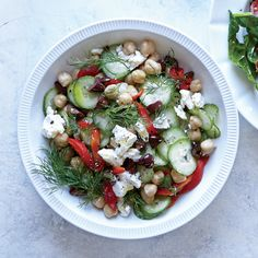 Greek Cucumber and Chickpea Breakfast Bowl | Dill absolutely makes this salad, offering a fresh, herbaceous boost that livens up the canned chickpeas. It's a satisfying bowl of crunchy, creamy, chewy textures.