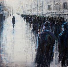 "welovepaintings: "" Lesley Oldaker Non Conformist 100x100cm Oil on canvas 2014 """