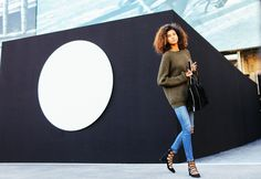 Imaan Hammam in oversized military green sweater. | MFW SS 2016 | Photo: Phil Oh | Source: vogue.com