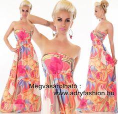 Színes mintás  elegáns alkalmi maxi női ruha  Pink mintás