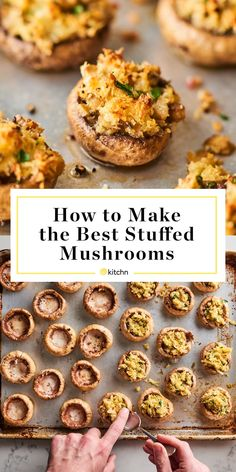 How To Make the Best Stuffed Mushrooms - Meatloaf Recipes Best Stuffed Mushrooms, Stuffed Mushroom Caps, Stuffed Peppers, Stuffed Mushroom Recipes, Vegetarian Stuffed Mushrooms, Best Mushroom Recipe, Mushrooms Recipes, Appetizers For Party, Appetizer Recipes