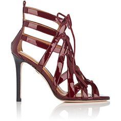 Cecelia New York Women's Paloma Patent Leather Sandals (€110) ❤ liked on Polyvore featuring shoes, sandals, burgundy, open toe sandals, strappy lace up sandals, high heel sandals, strappy stilettos and high heeled footwear