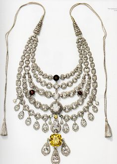 The Maharajah of Patiala necklace, Cartier, 1928. Featured a cascade of seven large diamonds and the De Beers yellow diamond, which weighed 234.69 carats. The finished necklace was comprised of 2,930 diamonds, 962.25 carats.
