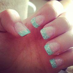 Mint sea shell nails :)