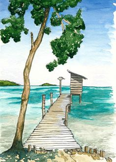 Caribbean Seascape ACEO Mini Art Print of by SaylorWolfWorks, $3.95