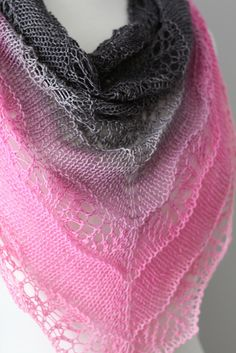 "Yarn: ""Back to Black - Pink"" hand dyed yarn by Gradient Pattern: ""Shaelyn Shawl"" by Leila Raabe"