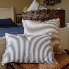 Ticking Stripe Lumbar Throw Pillow