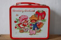 Vintage Strawberry Shortcake Tin Lunch Box Metal by JunkyardElves
