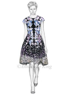 Fashion illustration by Annabelle King Completed using pencil and coloured pencils.Based on a photo from Temperley London's SS14 collection.x