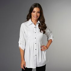DG2 Long-Sleeve Pleat-Front Denim Tunic at HSN.com.