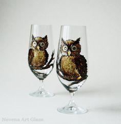 Hand Painted GlassesOwls Glasses Beer Juse by NevenaArtGlass, $49.80