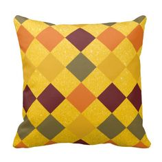 #Fall #Geometric #Diamond with #Yellow #Glitter #Pillows #zazzlebesties #zazzle