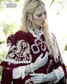 Modern Victorian Fashion ◆ Vogue Korea Winter 2015 featuring model Soo Joo Park ◆ Red cape from Simone Rocha
