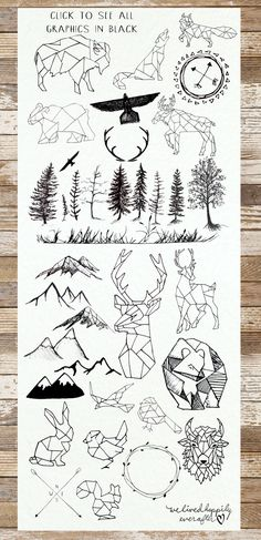 Geometric Animals & Rustic Landscape by WeLivedHappilyEverAfter on Creative Mark. - Geometric Animals & Rustic Landscape by WeLivedHappilyEverAfter on Creative Market - Gold Watercolor, Watercolor Ideas, Watercolor Background, Ombre Background, Watercolor Texture, Desenho Tattoo, Hand Lettering, How To Draw Hands, Artsy