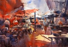 Direk Kingnok Watercolor artist  Market in Khonkaen.