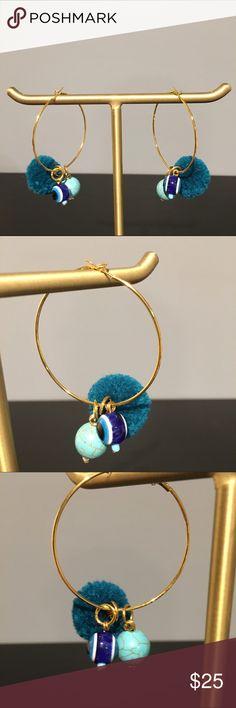 Custom Blue Stone Pom Pom Earrings Gold Plated Iron Hoop Earrings. Artificial Blue Eye Charm. Tiel Colored Charm. Blue Pom Pom Charm. Jewelry Earrings