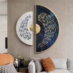 Framed wall art Gold art set of 2 wall art Sea Navy blue Ymipainting Gold fishes ocean 2 piece wall art abstract semicircle painting Wall Art Sets, Diy Wall Art, Framed Wall Art, Canvas Wall Art, Wall Decor, Diy Canvas, Art Deco Wall Art, Gold Leaf Art, Gold Art