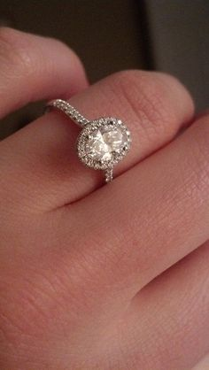james allen: oval halo, white gold engagement ring, perfection.