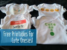 DIY cute onesies for baby shower gifts. Free iron-on printables!