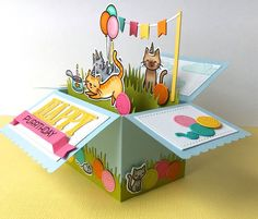 The Queen's Scene: Happy Purrthday - Scalloped Box Card Pop-Up Birthday Card Pop Up, Birthday Box, Handmade Birthday Cards, Fancy Fold Cards, Folded Cards, Cat Cards, Kids Cards, Diy Exploding Box, Pop Up Box Cards