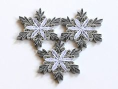 Snowflake Grey White Quilled Handmade Art Paper Quilling