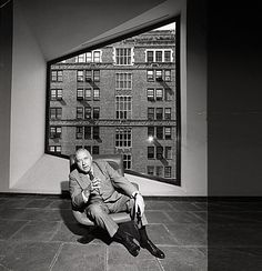 Marcel Breuer seated in the Whitney Museum of American Art, New York, NY (Breuer  Hamilton P. Smith, 1963-66)