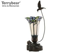 Terrybear Blue Bouquet Keepsake Lamp. This Keepsake can hold a small amount of cremated remains.