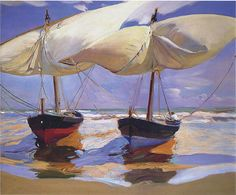 Sorolla y Bastida, Joaquin (Spanish, 1863-1923) - Beached Boats. Valencia - 1915 (by *Huismus at flickr)