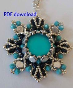 Tutorial PDF, honeycomb pendant, superduo pendant, PDF tutorial, beading tutorial, instant download, honeycomb pattern