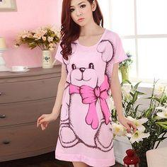 Summer Women's Nightgowns Short-sleeve Dress Cute Cartoon Bear Printed Sleepwear