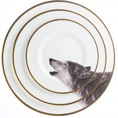 Owling Wolf China Plates- By melody Rose