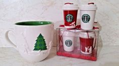 Starbucks Coffee Cup & 4 Collectible Holiday 2006 Christmas Decorations, New…