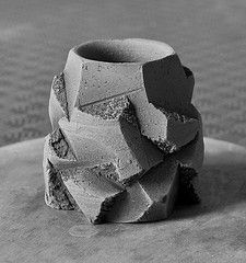 Sculptural vessel (cup)  Raw clay, unfired. Approx. 3 inches tall.