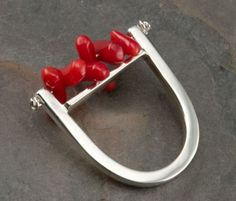 Red Coral and Silver Ring by JenLawlerDesigns on Etsy, $135.00